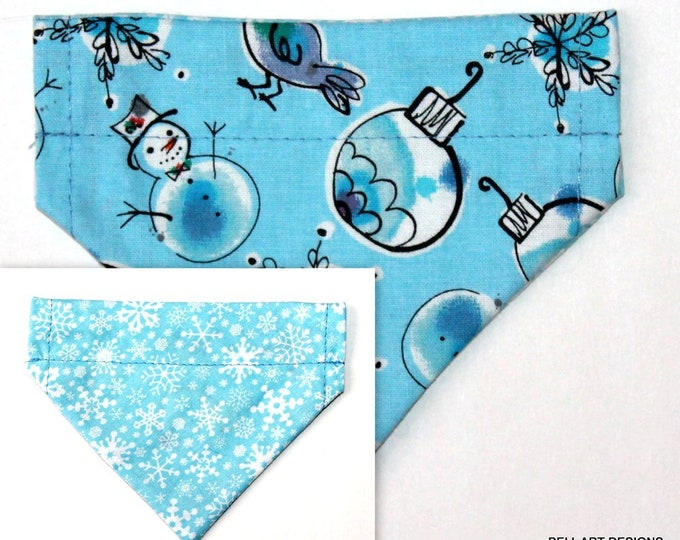 CHRISTMAS ~ Snowflakes, Snowmen, Over the Collar ~ Reversible ~ Dog Pet Bandana ~ Bell Art Designs ~ Extra Extra Small DCXXS137
