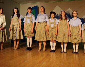 The Sound of Music von Trapp Children Curtain Clothes--Custom, Full Set