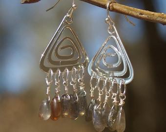 Silver Triangle and Labradorite Tear Drop Earrings  - Silver Earrings, Triangle, Labradorite