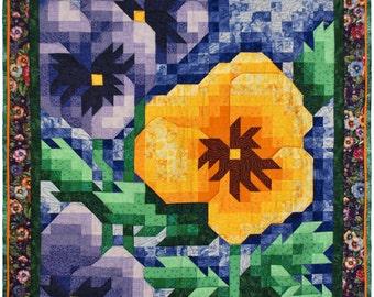 Quilt Pattern - Pansy Mosaic Art Quilt Pattern - Immediate Download PDF