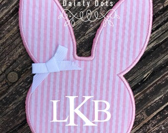 Monogram Bunny Patch | Iron On Easter Bunny Patch | Make Your Own Easter Shirt | Pink Seersucker Monogram Easter Bunny Patch |