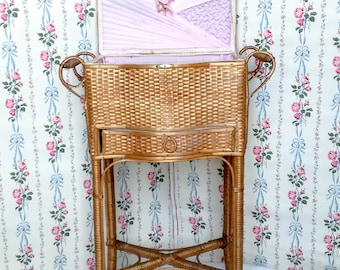Antique French wicker basket, boudoir sewing basket, French travailleuse, pink silk lining, years 1920's, antique rattan sewing cabinet
