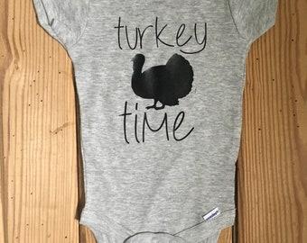 Turkey Time Onesie, Thanksgiving Onesie, Holiday Onesie, Turkey Onesie, Baby Onesie, Baby Boy Onesie, Boy Onesie, Baby Girl Onesie,