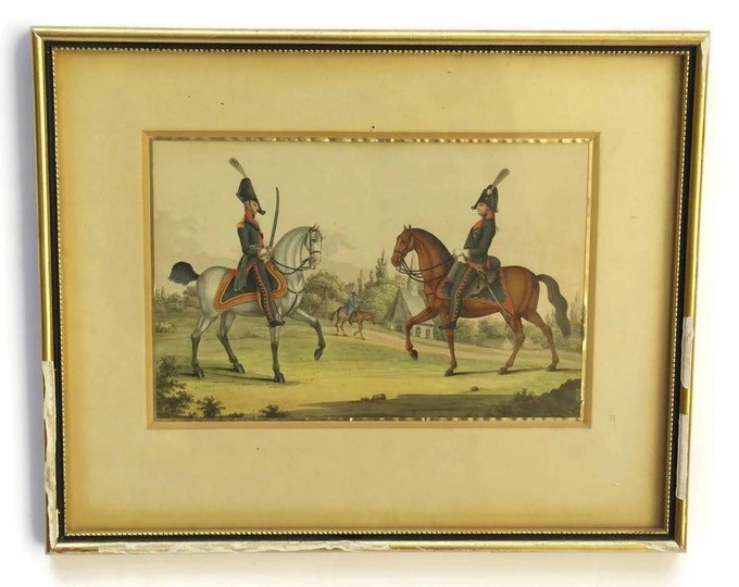 19th Century Antique Equestrian Art. Soldiers in Uniform and Horse Painting.