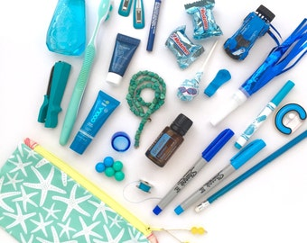 Aqua Starfish Recycled Zipper Pouch, Eco Friendly Bag + Glass Bead Tassel, Handmade Stocking Stuffer, Teacher Gift, Holiday Gift, Pencil Bag