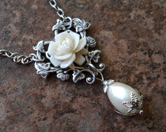 Ivory Rose and Pearl Necklace Exclusively by Enchanted Lockets
