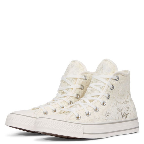 Ivory Converse High Top White Bridal Lace Crochet Knit Wedding Chuck Taylor w/ Custom Swarovski Crystal Bling All Star Bride Sneakers Shoes