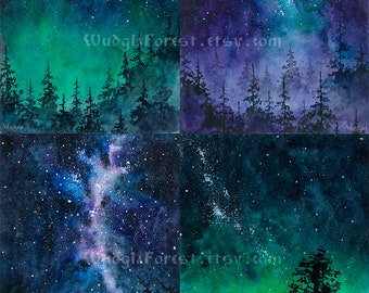 Pagan art Druid fantasy art Set of 4 INSTANT DOWNLOAD Watercolor painting  Woodland Nature lover gift Wicca Night sky Milky way Forest
