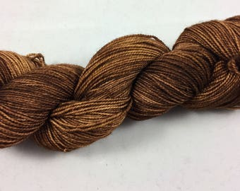 hand dyed sock yarn, fingering weight, superwash merino wool and nylon, BROWNIE colorway