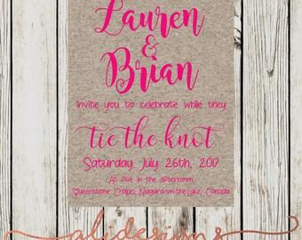 Printable romance wedding invitation suite, craft paper, wedding invite, pink wedding stationery, personalized printable invitation template