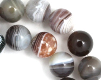 Botswana Agate Beads - 12mm Round