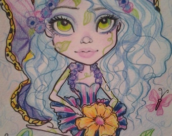 Blue Hair Fairy ACEO/ATC Artist Trading Cards By The Artist Leslie Mehl