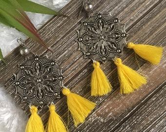 Aurora dangle tassel earrings