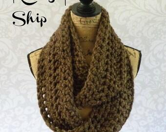 Infinity Scarf Crochet Knit Alpaca Blend Brown Women's Accessories Eternity Fall Winter
