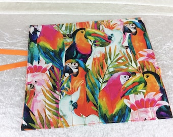 Handmade Makeup Pen Pencil Roll Crochet Knitting needles tool holder case  Tropical Jungle Birds Parrots Toucans