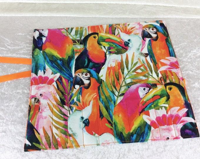 Tropical Birds Makeup Pen Pencil Roll Crochet Knitting needles tool organiser Make up holder case wrap Jungle