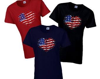 American Flag Heart Shirt/ Fourth Of July Women's Shirt / Stars And Stripes Patriotic Filigree Flag Heart Summer Shirt