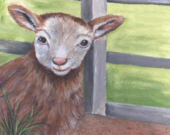 ACEO Baby Lamb painting reproduction on  linen cardstock