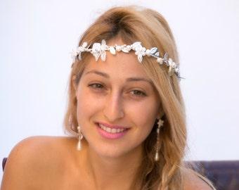 Greek goddess leaf crown, silver wedding crown, bridal pearl crown, bridal wreath, boho bridal headband, wedding pearl tiara, woodland crown