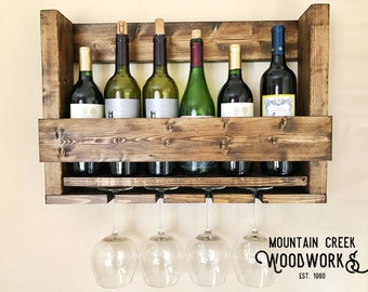 Wine Shelf, Wine Rack, Wine Glass Rack, Wooden Wine Shelf, Wooden Wine Rack, Rustic Wine Shelf, Rustic Wine, Hanging Wine Rack, Wine Storage