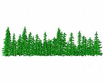 Row of Trees Machine Embroidery Design - Instant Download