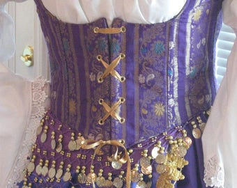 DDNJ Choose Fabrics 5pc Reversible Corset Style Bodice Chemise Skirt Renaissance Plus Custom Made ANY Size Steampunk Gypsy Victorian Cosplay