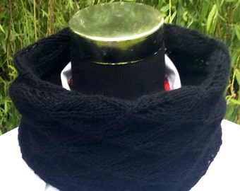 NEW cashmere lace knit black snood, doubles as a cosy neck warmer by Willow Luxury