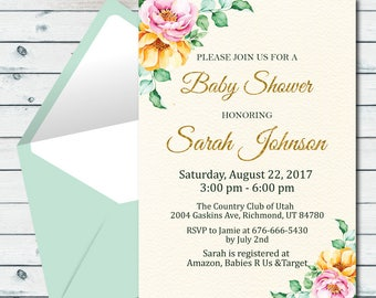 Customized Floral Baby Shower Invitation, Flower Baby Shower Invite, Shabby Chic Baby Shower Invite, Personalized Watercolor Floral Invite