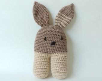 Amigurimi Crocheted Stuffed Bunny Rabbit // Toy Plush Rabbit // Birthday Toddler Baby Shower Gift Newborn Present // Colorway Woodland Brown