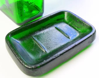 JAGERMEISTER green recycled glass soap dish repurposed bottle eco friendly kitchen decor handmade bathroom soap dish Torch Lake art glass