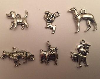 Dog charms set greyhound bulldog cute doggo