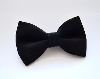 Velveteen Black bow tie, baby bow tie, boys bow tie ,adult bow tie, men's bow tie, wedding bow tie, black bow tie, velvet bow tie