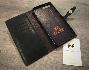 "NEW For SALE 1 Piece iPhone 8 7 Plus 5.5"" Italian Leather Case bifold cards holder flip book Color BLACK"