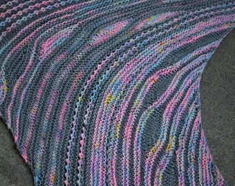 Pink Gray and Pastel Icing Asymmetric Triangular Color Blocked Striped Pure Merino Wool Shawl or Wrap
