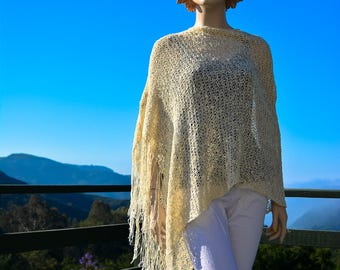 Cream Ivory Off White Knit Rayon Cotton Spring Summer Poncho w Fringes