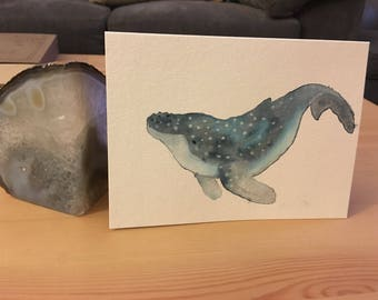 Whale ~ hand painted card