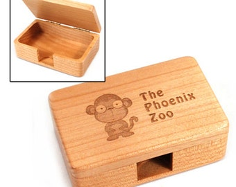 Business card box etsy personalized laser engraved maple business card box reheart Images