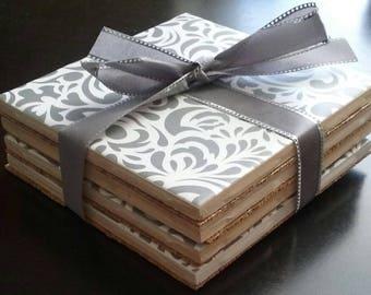 Handmade gray patterned ceramic tile coasters