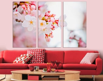 3 Panel  Canvas Split , Cherry Blossom Tree, Photo Print on Canvas,  Triptych  Canvas, Interior design, Room Decoration, Photo gift