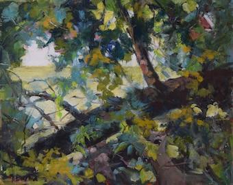 Oil Landscape, Deer Painting, Trees