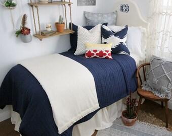 Solid Ivory Dorm Bed Skirt & Headboard Bundle