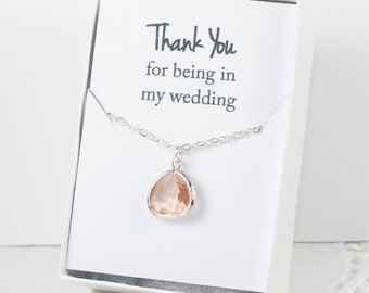 Peach Silver Necklace, Champagne Bridesmaid Necklace, Champagne Silver Necklace, Bridesmaid Jewelry, Bridesmaid Gift, Wedding Jewelry