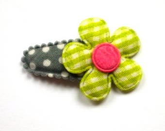 Baby Hair Clip with Flower in Green French Vichy