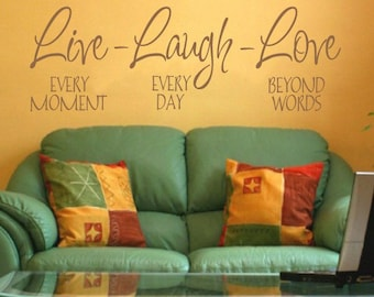 """FREE SHIPPING """"Live - Laugh - Love"""" Wall Decal Home Decor Custom Size and Color"""