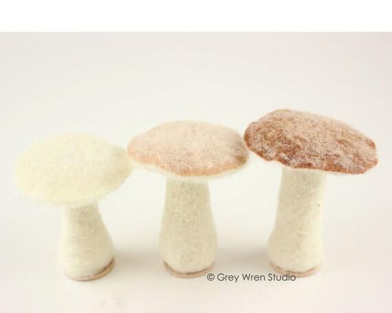 Wonderful Set Of 3 Needle Felted Mushrooms   Home Decor, Handmade, Needlefelted,  Decoration, Christmas Gift, Xmas, Gift, Woodland, Gnome, Fairy,