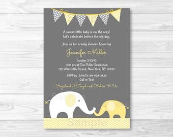 Cute Elephant Baby Shower Invitation / Elephant Baby Shower Invite / Chevron Pattern / Yellow & Grey / Gender Neutral / PRINTABLE A205