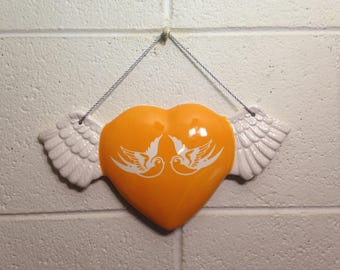 Orange Swallows Sparrows Heart With Wings Wall Art Hanging handmade hand made OHIO USA tattoo ceramic pottery winged goth