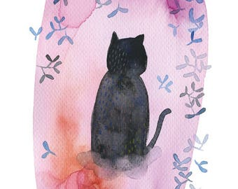 Watercolor black cat print, Cat poster, Cat illustration, Cat wall art, Flower cat art, Kid room, Whimsical cat, Birth gift idea, Cat lover