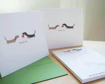 Dachshund Thank You Cards and Personalized Notepad Set - With Hearts (10 cards, 1 notepad)