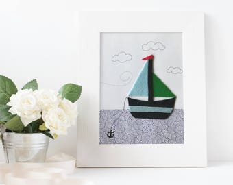 Boat and Travel theme personalized Birth Frame nursery art